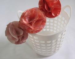 Tiara 3 Flores Repolhudas Cetim Salmon
