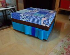 caixa la�o azul mdf tecido