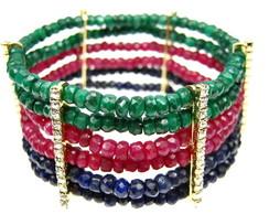Bracelete Esmeralda, Safira e Rubi