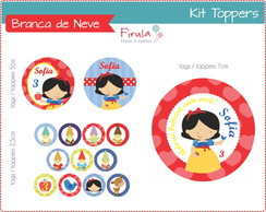 Kit Toppers / Tags Branca de Neve