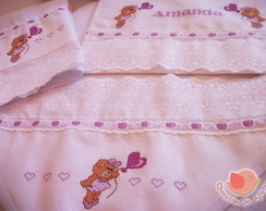 Kit fraldas e toalha - Ursa lil�s
