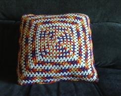 Capa para almofada colorida em croch�