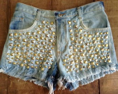Shorts jeans tachinhas,spikes,Chic