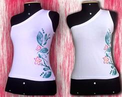 Camiseta de Ombro S� Flor Aplicada