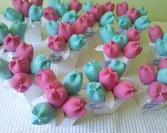 cachepot de tulipas azul tiffany e rosa