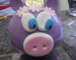 Porquinho de Chocolate com moedas