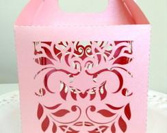 Caixa Folhas Rosa para Cupcake