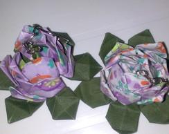 Chaveiro Flor de L�tus tecido/origami.