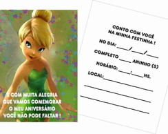 30 Convites Tinkerbell - Papel Grosso