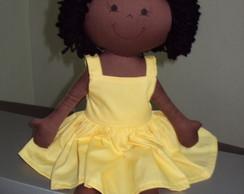 Boneca  De Pano Negra Vestido  Amarelo