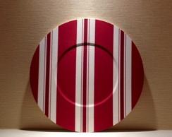 Sousplat tecido listrado - vermelho