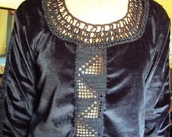 002 Crm- Blusa de Chamois com Croch� -