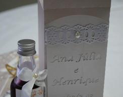 Porta garrafa personalizada p/casamento