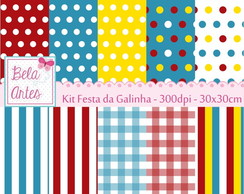 Kit Papel Digital Festa da Galinha