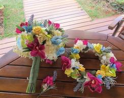 Kit Bouquet noiva & guirlanda & lapela I