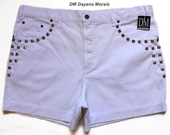 Short Branco  Plus Size c/ Tachas - DM