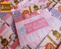 Convite Para Ch� De Beb� Safari Rosa