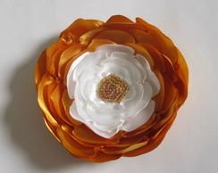 Flor Cetim Laranja Dourado Branca
