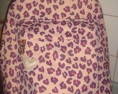 Mochila em lona com brilho Oncinha rosa