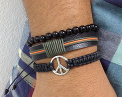 Kit pulseiras masculinas �nix e Paz