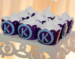 Wrapper 3D p/ Cupcake 3D Azul com Lil�s
