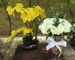 Kit flores brancas & orqu�deas amarelas