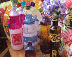 Mandalas, garrafas decoradas em vidro