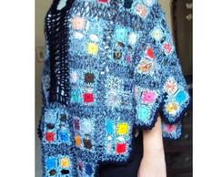 004 Crx Poncho de Croch� Colorido e Azul