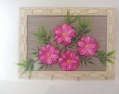 Porta chaves  com Flores de E.V.A