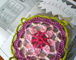 Square floral em crochet