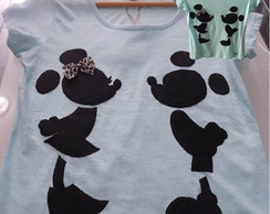 Camiseta Customizada Mickey e Minnie