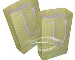 Sacola amarela de bolinha branca
