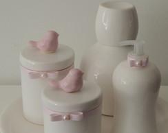 Kit Passarinhos Rosa e Branco