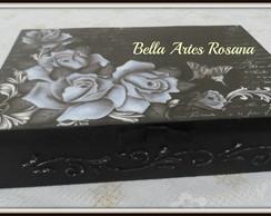 Caixa porta joias floral preta (Vendida)