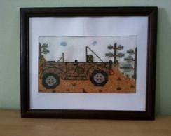 Quadro bordado - motivo jeep trilha