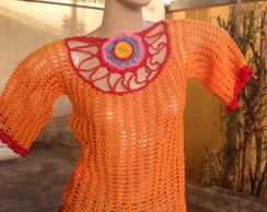 Blusa de Croch� com Flor no Decote
