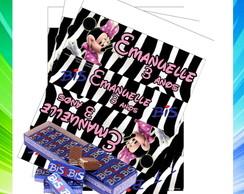 R�tulo Bis Minnie rosa com zebra