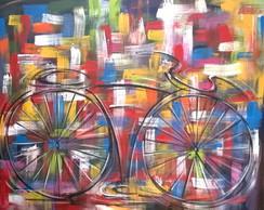 Pintado a m�o quadro bike 80x100 cod 698