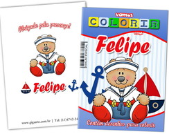 Kit Revista Para Colorir com giz de cera