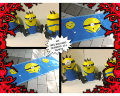 KIT 3 MINIONS 3D + TAPETE EVA