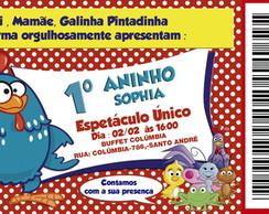 Convite Ingresso Galinha Pintadinha