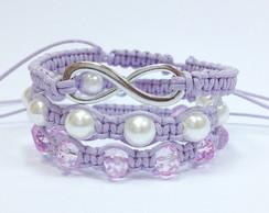 Kit pulseiras infinito lil�s