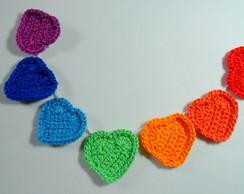 Varal cora��o em croch� Arco-iris