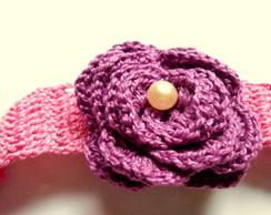 Faixa em croch� Rosa
