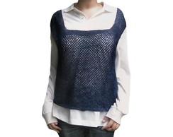 Arrast�o blusa de croch� azul