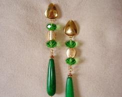 brinco de Jade verde com cristal verde