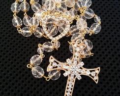 Ter�o de cristal transparente dourado