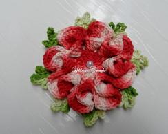Flor Cam�lia Vermelha Barbante