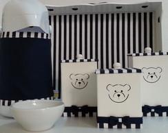 Kit Higiene Urso Listrado Azul Marinho