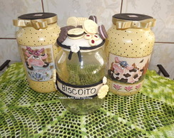kit Pote De Vidro Decorado